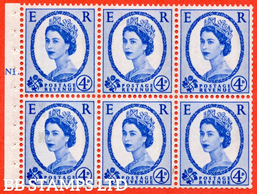"SG. 616a. SB109. 4d Deep Ultramarine. A fine UNMOUNTED MINT cylinder "" N1 T dot "" booklet pane of 6. Perf type (Ieb) with GOOD PERFS. Smooth edge. White Paper."