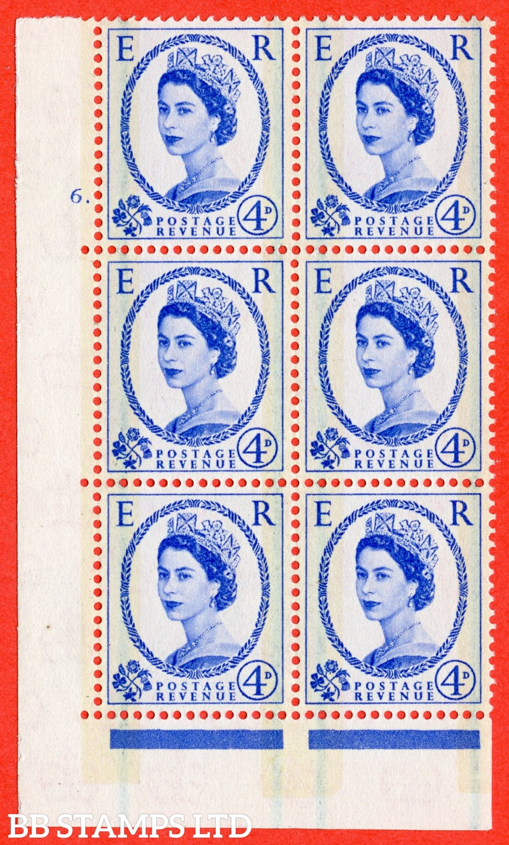 "SG. 608. S87. 4d Ultramarine. A fine lightly mounted mint "" cylinder 6 dot "" control block of 6 with perf type A E/I."
