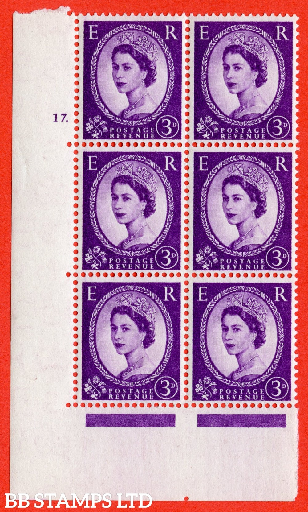 "SG. 545. S68. 3d. Deep - Lilac. A fine lightly mounted mint "" cylinder 17 dot "" control block of 6 with perf type A E/I."