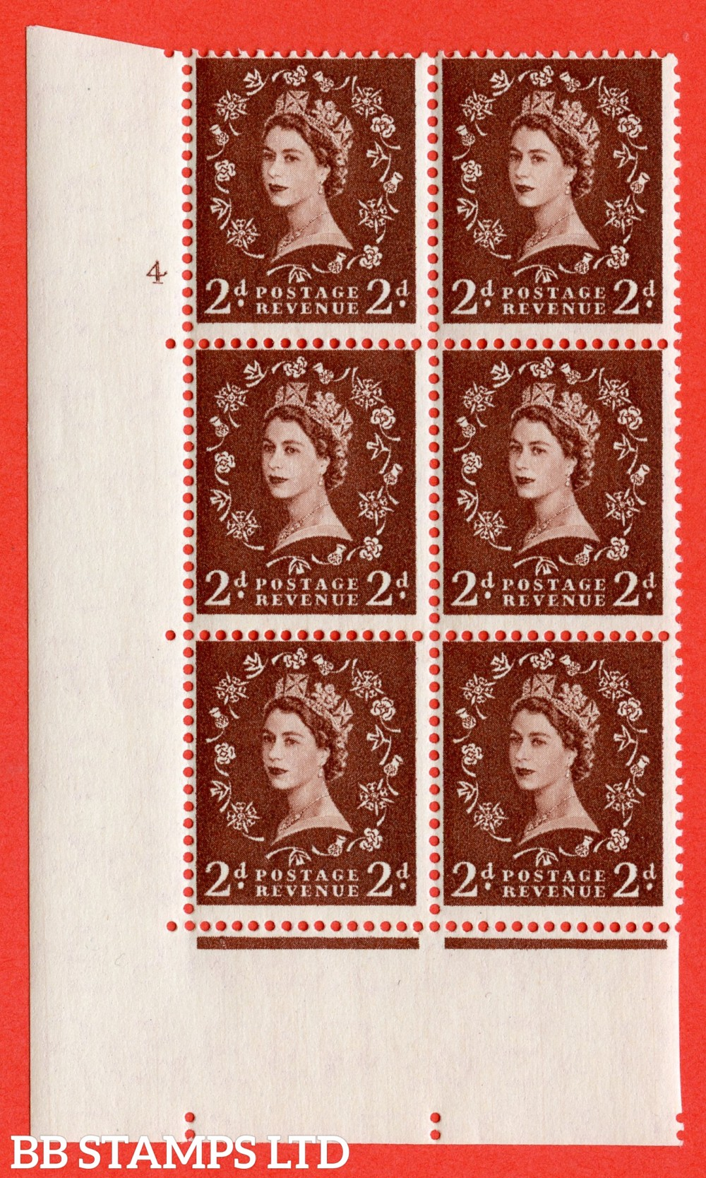 "SG. 543. S37. 2d. Red-brown. A superb UNMOUNTED MINT "" cylinder 4 no dot "" control block of 6 with perf type A E/I."