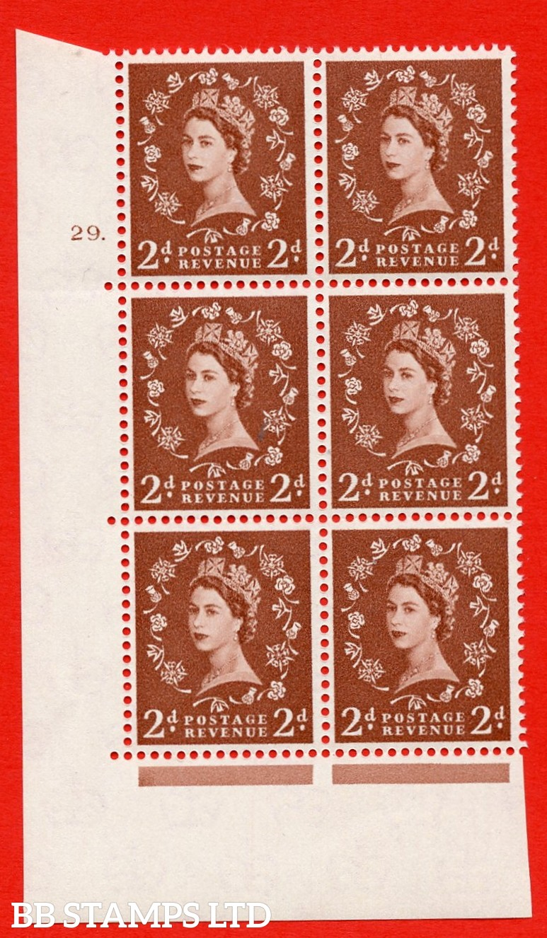 """SG. 573. S40. 2d light red brown . A superb UNMOUNTED MINT """" cylinder 29 dot """" control block of 6 with perf type A E/I. CREAM paper."""