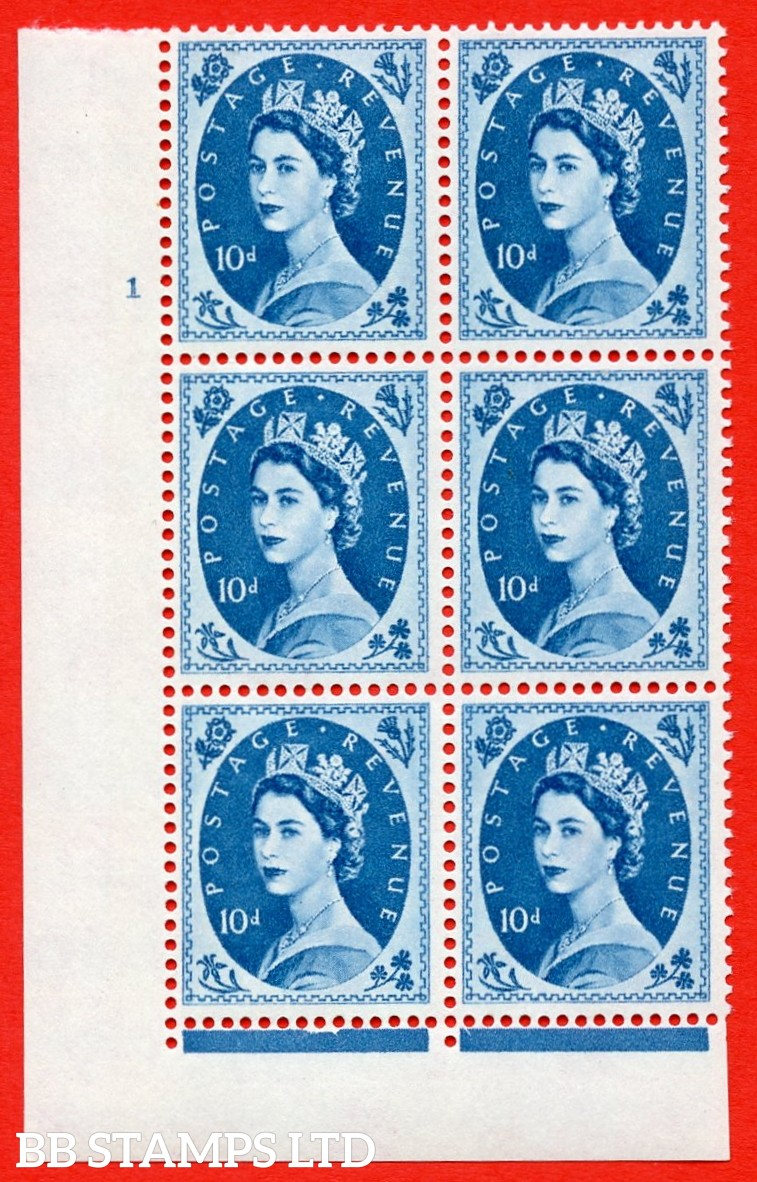 "SG.617d. S133. 10d Prussian Blue. A superb UNMOUNTED MINT "" cylinder 1 no dot "" control block of 6 with perf type FL (I/E). violet Phosphor 9½mm Band"