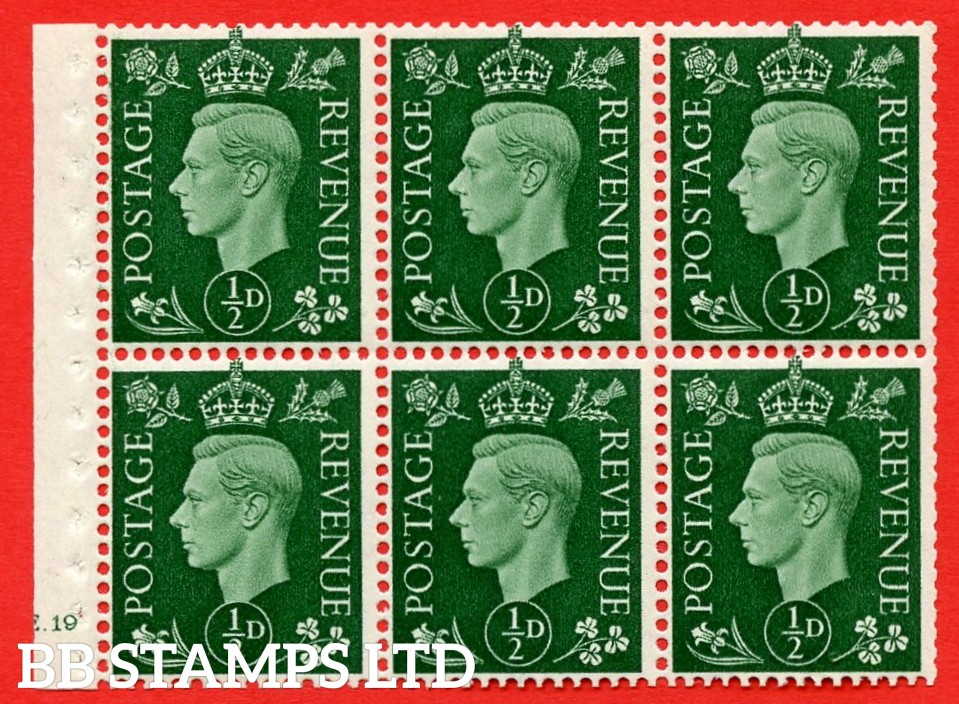 SG. QB1 Perf Type B3(I). ½d Green x 6 Pane, UNMOUNTED MINT Watermark Upright. Cylinder Pane E19 no dot ( SG. 462b ) Perf Type B3(I). Good Perfs.