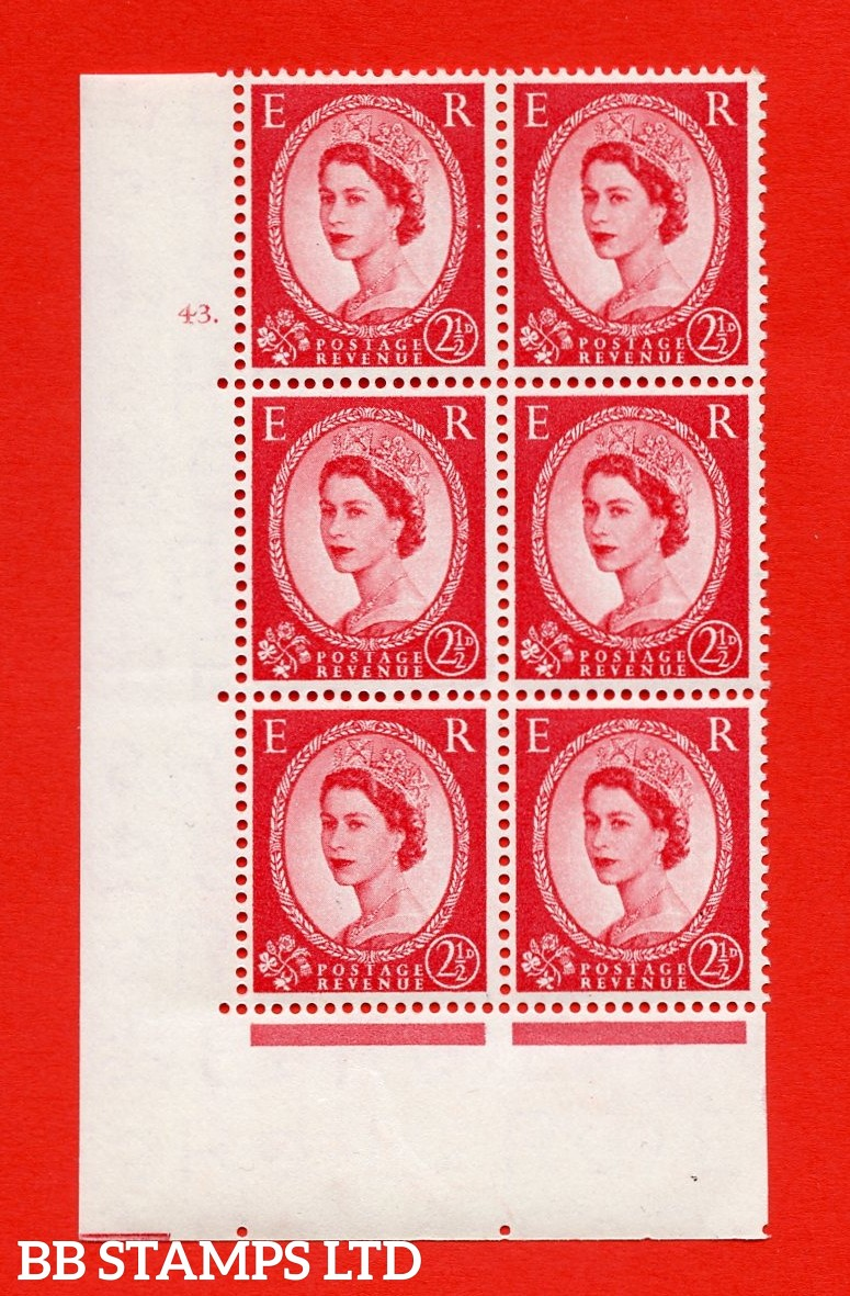 "SG. 544. S52. 2½d. Carmine - Red. A superb UNMOUNTED MINT "" cylinder 43 dot "" control block of 6 with perf type A E/I."