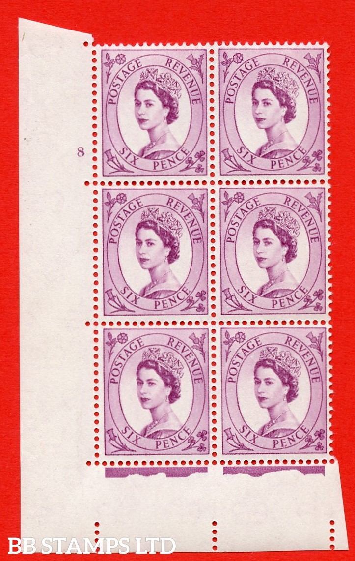"SG S107. 6d Deep claret  A superb UNMOUNTED MINT "" cylinder 8 no dot "" control block of 6 with perf type A (E/I)."