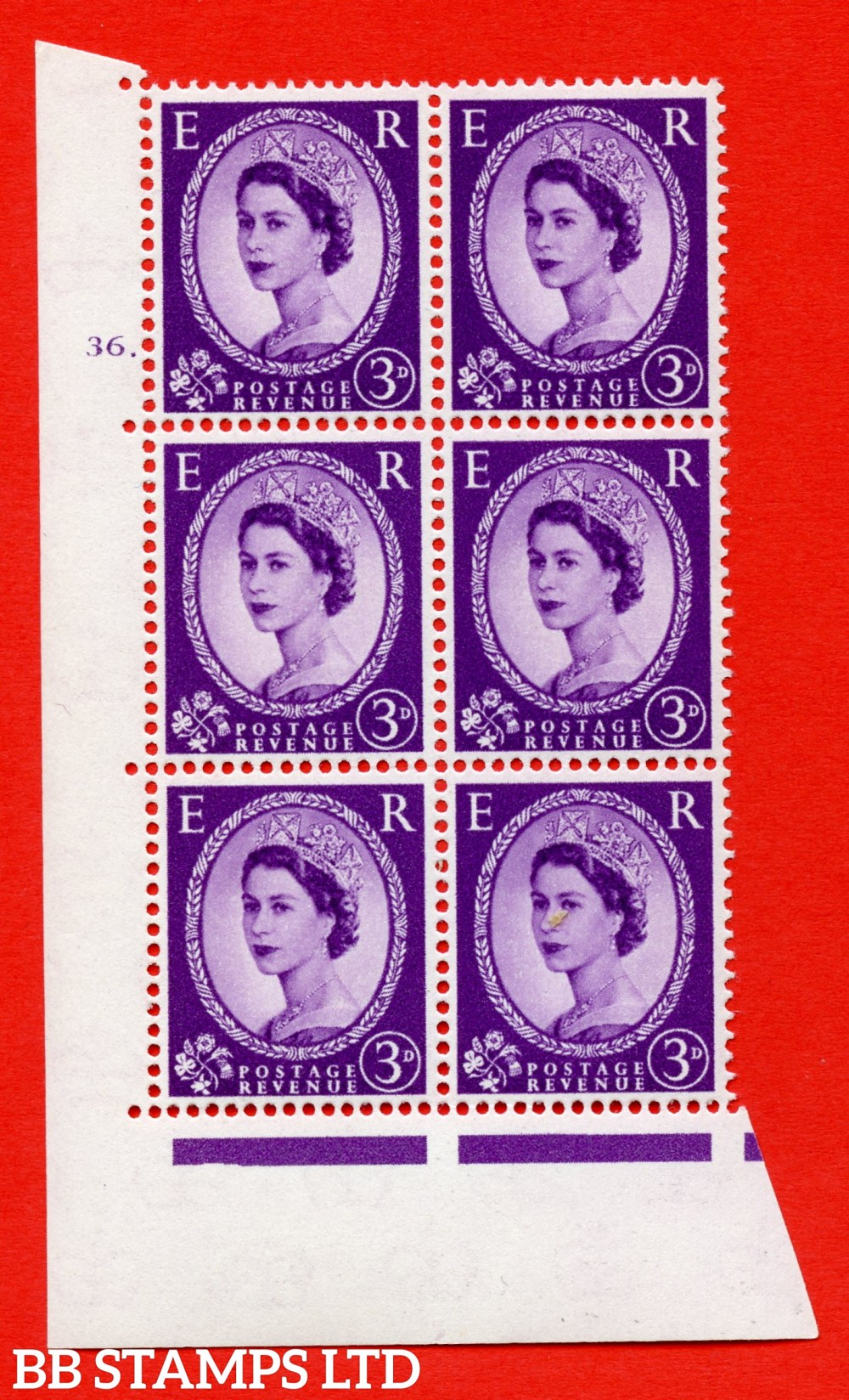 "SG. 575. S70. 3d Deep lilac.Type I. A superb UNMOUNTED MINT "" cylinder 36 dot "" control block of 6 with perf type A E/I. CREAM paper."