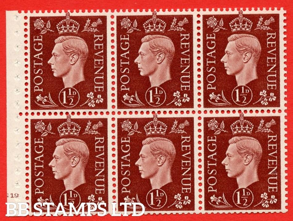QB21 Perf Type B4(E) 1½d Red-Brown x 6 Pane, UNMOUNTED MINT Watermark Upright. Cylinder Pane G19 no dot ( SG. 464c ) Perf type B4(E). Good Perfs.