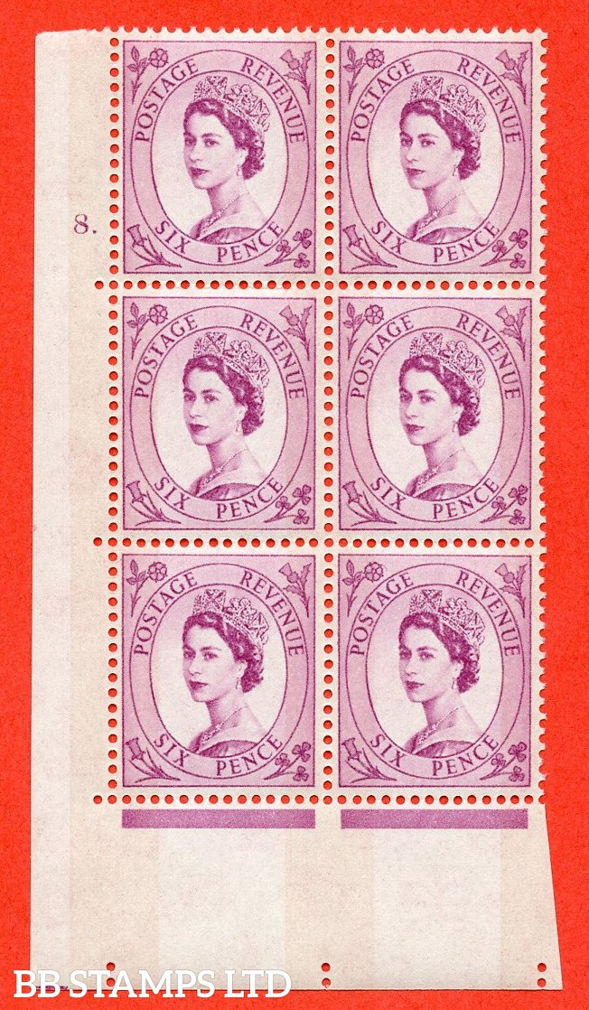 "SG.617. S111. 6d Deep Claret. Photo.  A superb UNMOUNTED MINT "" cylinder 8 dot "" control block of 6 with perf type A (E/I). Blue Phosphor White paper."