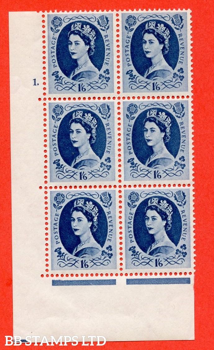 "SG. 586. S153. 1s 6d. Grey-blue. A superb UNMOUNTED MINT "" cylinder 1 dot "" control block of 6 with perf type A E/I. WHITE paper."
