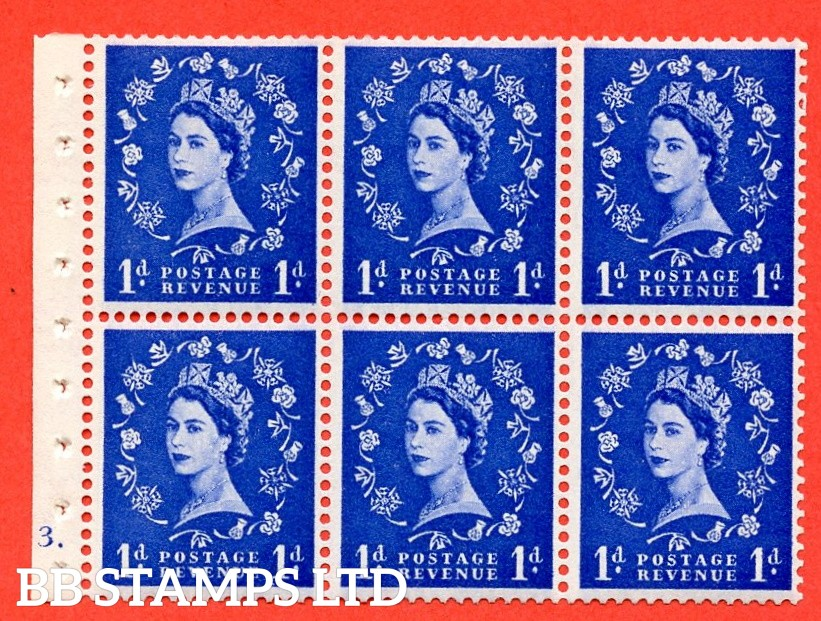 "SG. 571. SB30. 1d Ultramarine. A fine UNMOUNTED MINT cylinder "" F3 dot "" booklet pane of 6. Perf type (Iet) with GOOD PERFS. Smooth edge Cream paper."
