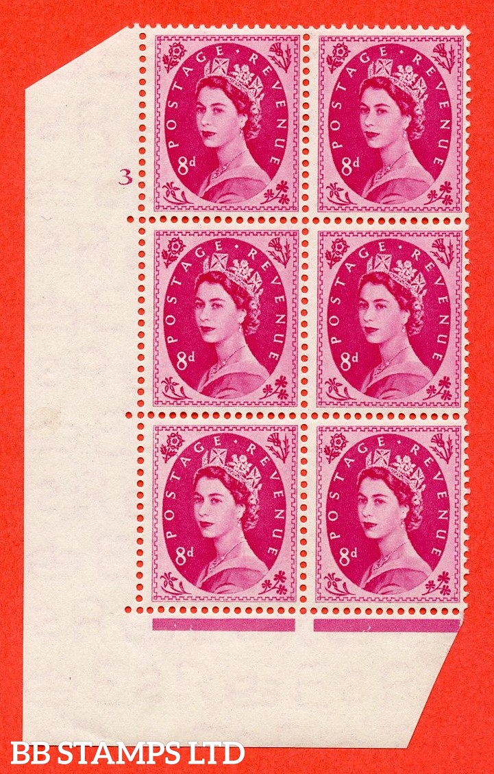 "SG. 525. S119. 8d Magenta. A superb UNMOUNTED MINT "" cylinder 3 no dot "" control block of 6 with perf type A E/I."
