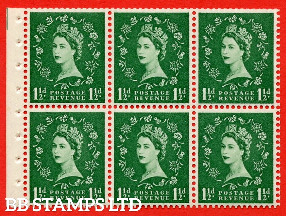 SG. 517. SB59. 1½d green. A fine UNMOUNTED MINT complete booklet pane of 6. Perf type (Ieb) with Good PERFS.