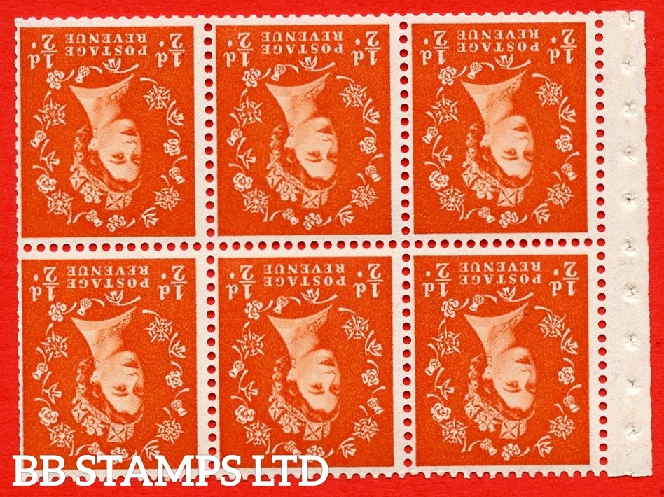 SG. 515Wi. SB1a. ½d orange - red. A fine UNMOUNTED MINTexample. INVERTED WATERMARK. Complete Booklet pane of 6. Perf Type IR. Good perfs.