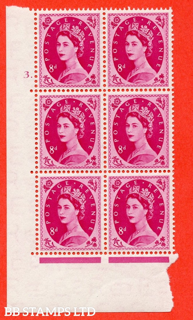 "SG. 525. S119. 8d Magenta. A superb UNMOUNTED MINT "" cylinder 3 dot "" control block of 6 with perf type A E/I."