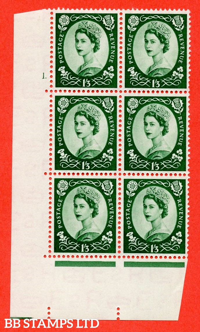 "SG. 530. S141. 1s.3d. Green. A fine mounted mint "" cylinder 1 dot "" control block of 6 with perf type A E/I."