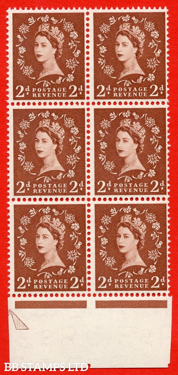 SG. 543b. S38k. 2d. Light Red-brown. A superb UNMOUNTED MINT example from cylinder 9 dot. bottom marginal positional Block of 6. With a white spot by daffodil R18/8 variety.