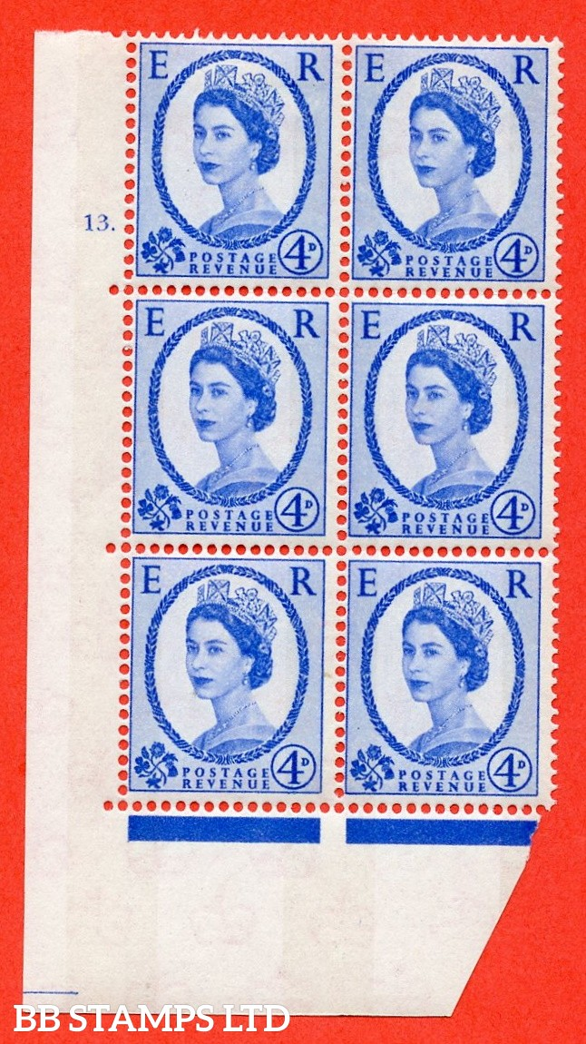 "SG.616a. S90. 4d Deep Ultramarine. A fine mounted mint "" cylinder 13 dot "" control block of 6 with perf type A (E/I). Blue Phosphor White paper."