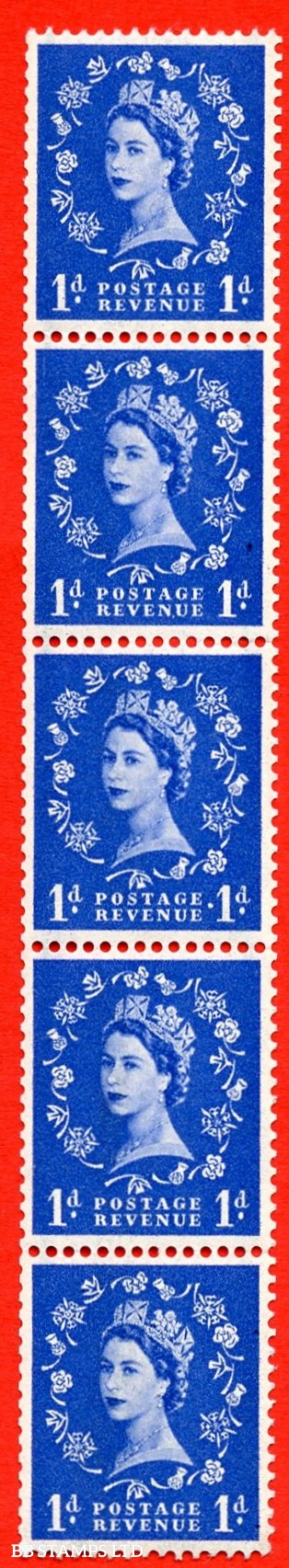 SG. 562a. S15c. 1d Ultramarine. A superb UNMOUNTED MINT example. Upright coil strip of 5. With a extra stop. ERROR. Roll 2 variety.
