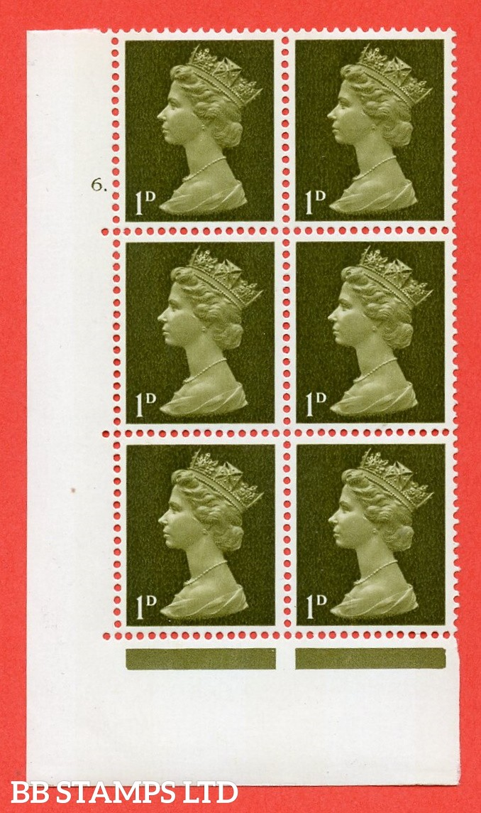 "SG. 724. U2 (3) . 1d greenish olive  A superb UNMOUNTED MINT "" cylinder 6  dot "" control block of 6 with perf type A E/I. PVA gum. Head B"