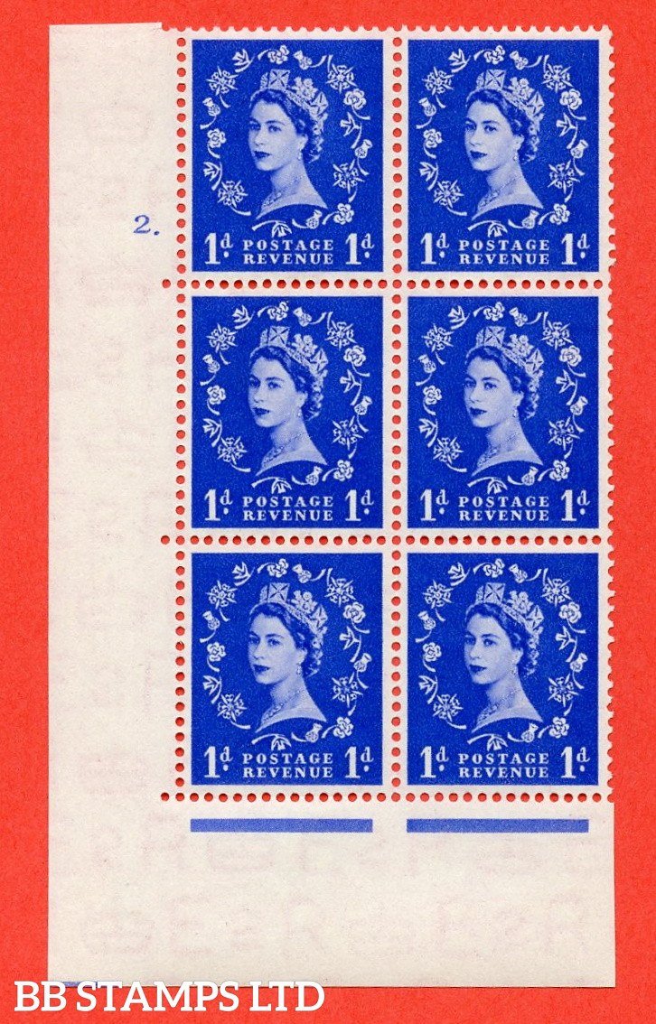 """SG. 516. S13. 1d Ultramarine. A superb UNMOUNTED MINT. """" cylinder 2 dot """" control block of 6 with perf type A E/I."""