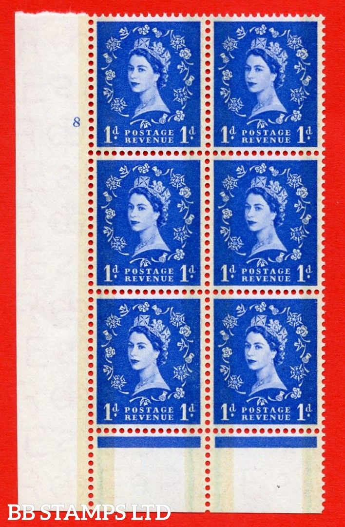 "SG. 600. S19. 1d Ultramarine. A superb UNMOUNTED MINT "" cylinder 8 no dot "" control block of 6 with perf type B I/P."