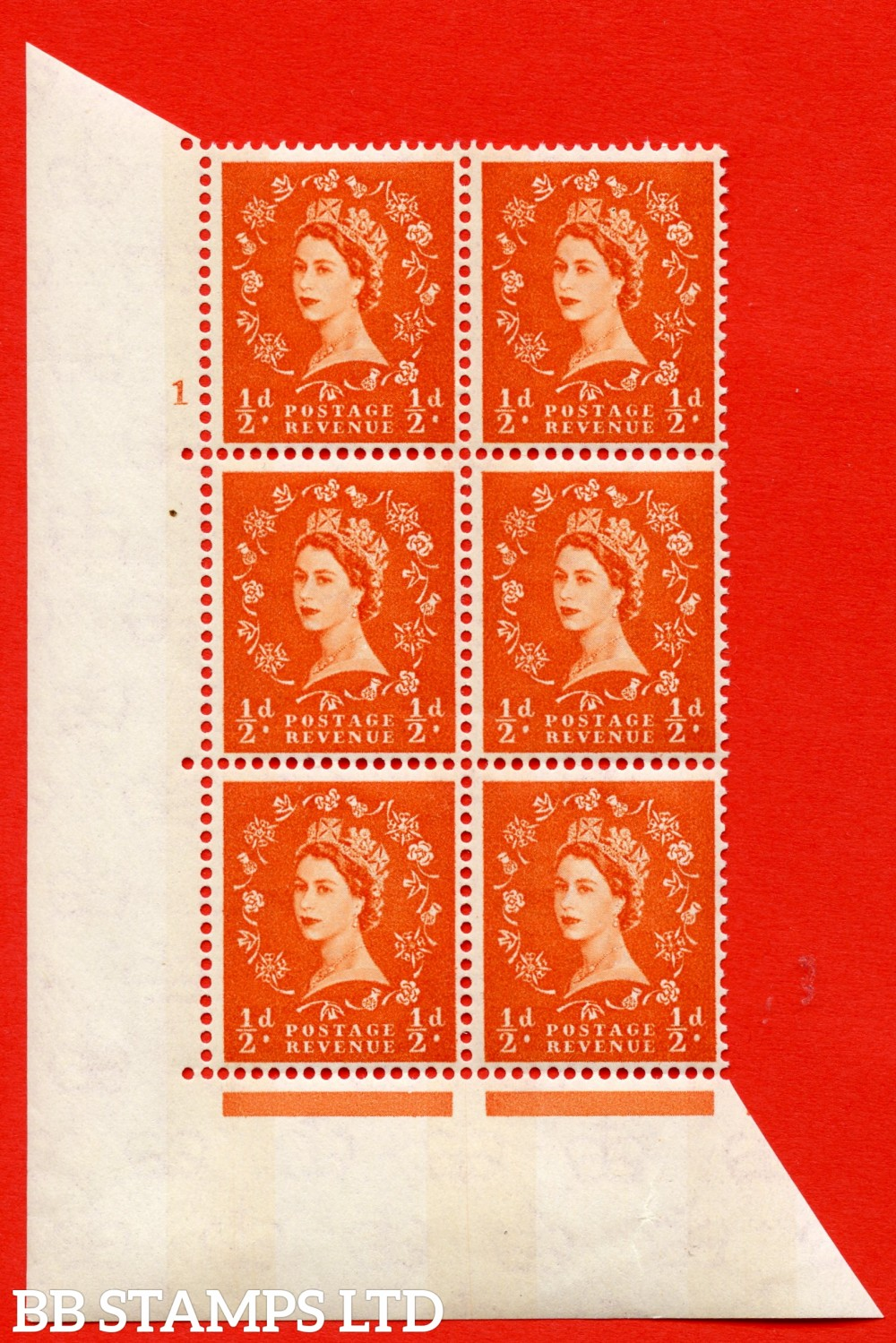 "SG.610. S10. ½d Orange red. A superb UNMOUNTED MINT "" cylinder 1 no dot "" control block of 6 with perf type A (E/I). Blue Phosphor Cream paper."