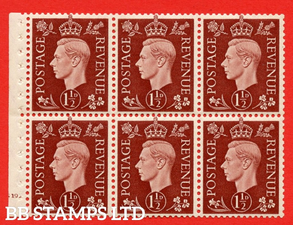 QB21 Perf Type B4B(E) 1½d Red-Brown x 6 Pane, MOUNTED MINT Watermark Upright. Cylinder Pane G19 dot ( SG. 464c ) Perf type B4B(E). Good Perfs.