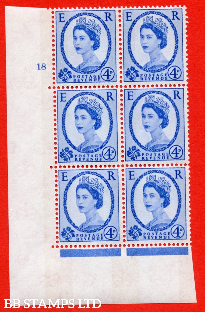 """SG.616a. S91. 4d Deep Ultramarine. A superb UNMOUNTED MINT """" cylinder 18 no dot """" control block of 6 with perf type A (E/I). violet Phosphor 8mm Band."""