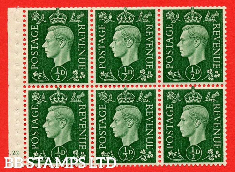 SG. QB1 Perf Type B3(I). ½d Green x 6 Pane, MOUNTED MINT Watermark Upright. Cylinder Pane E22 no dot ( SG. 462b ) Perf Type B3(I). Trimmed Perfs.