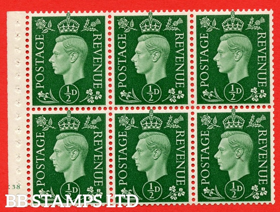SG. QB1 Perf Type B3(I). ½d Green x 6 Pane, UNMOUNTED MINT Watermark Upright. Cylinder Pane E38 no dot ( SG. 462b ) Perf Type B3(I). Good Perfs.