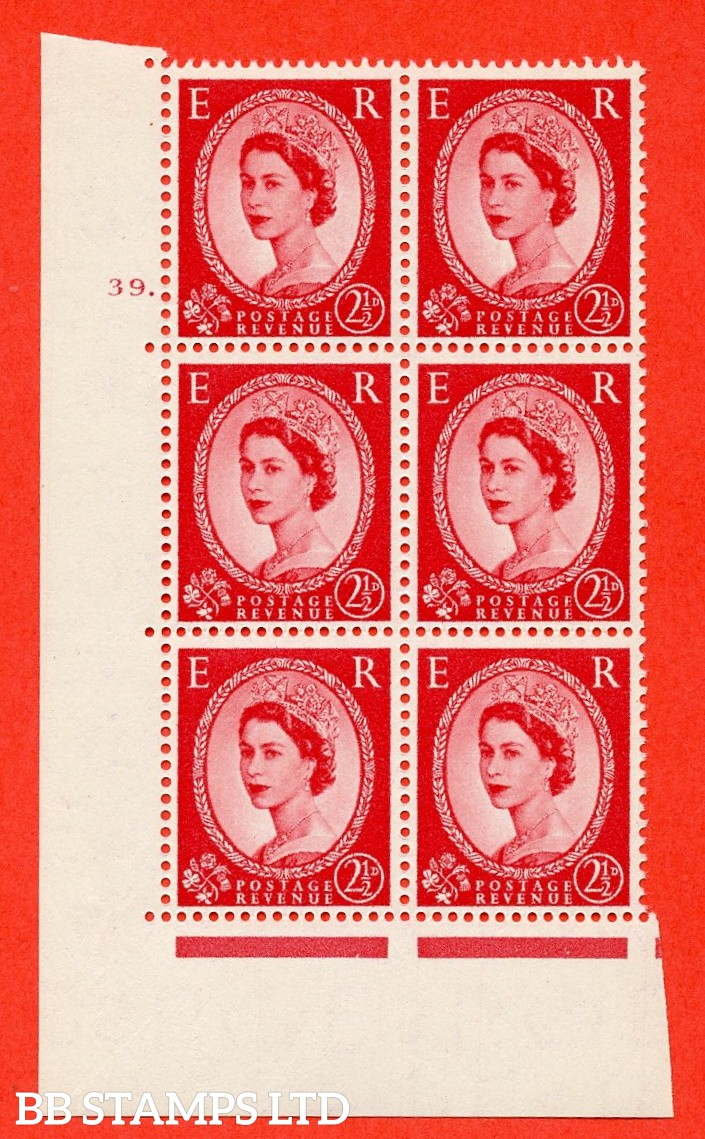 "SG. 544. S52. 2½d. Carmine - Red. A superb UNMOUNTED MINT "" cylinder 39 dot "" control block of 6 with perf type A E/I."