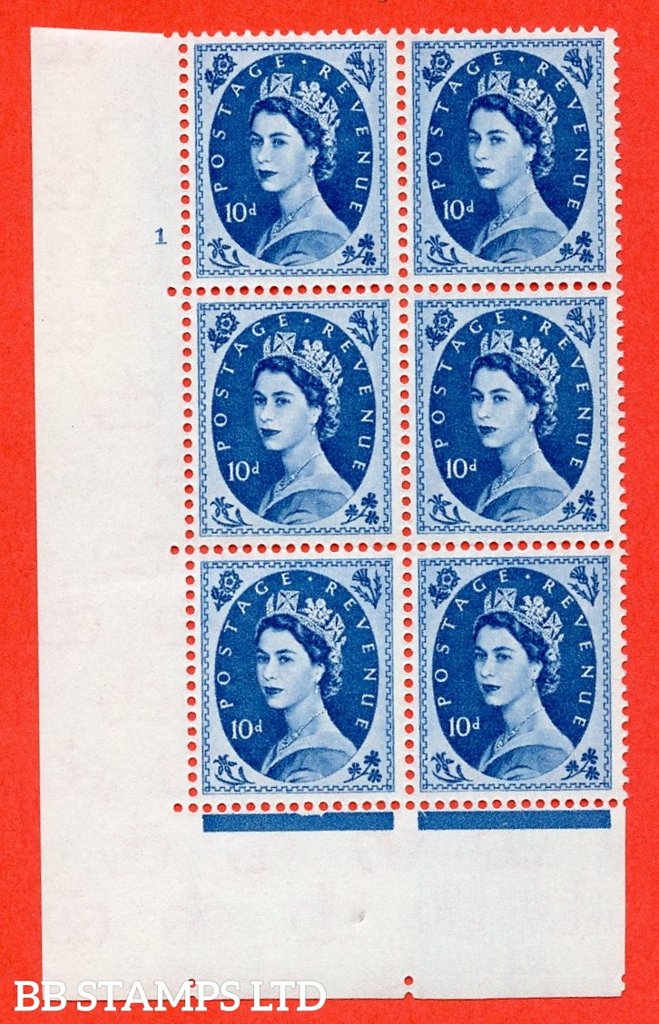 "SG S131. 10d Prussian Blue  A superb UNMOUNTED MINT "" cylinder 1 no dot "" control block of 6 with perf type A (E/I)."