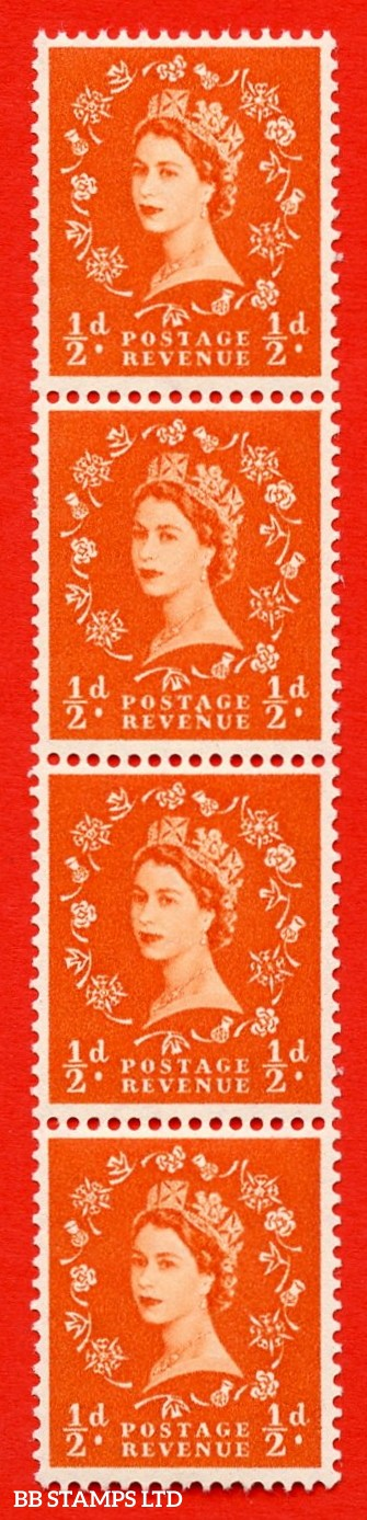 "SG. 540. S2g. ½d. Orange-red. A fine UNMOUNTED MINT example. Vertical Coil strip of 4. With a ""A"" flaw in ""POSTAGE""  ERROR Roll 3 variety"
