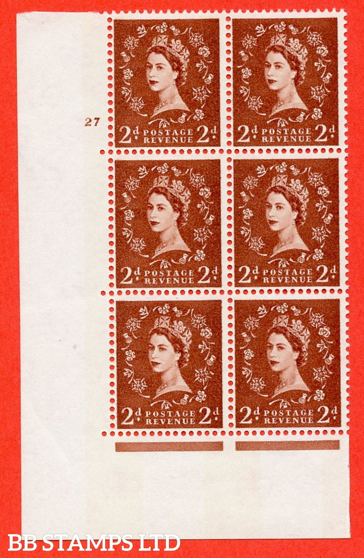 "SG.613a. S49. 2d Light Red Brown. A fine mounted mint "" cylinder 27 no dot "" control block of 6 with perf type A (E/I). violet Phosphor 9½mm Band."