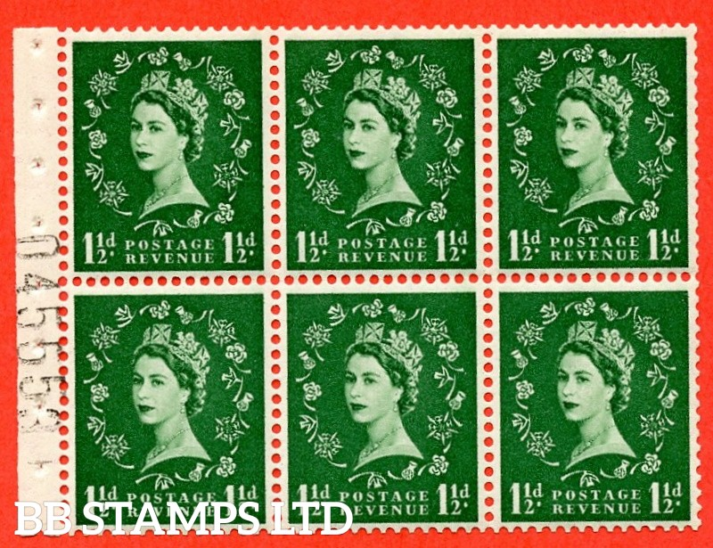 SG. 517. SB59. 1½d green. A fine UNMOUNTED MINT complete booklet pane of 6. Perf type (IR) with Good PERFS.