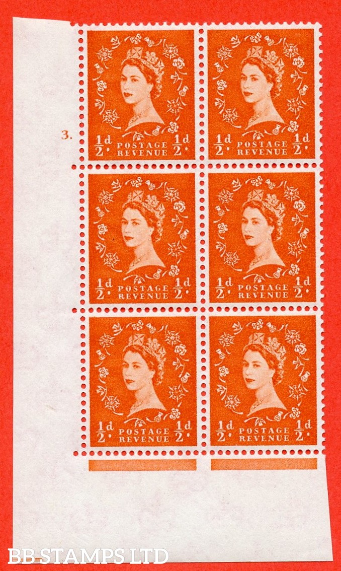 "SG. 570. S5. ½d Orange. A superb UNMOUNTED MINT "" cylinder 3 dot "" control block of 6 with perf type A E/I. WHITE paper."