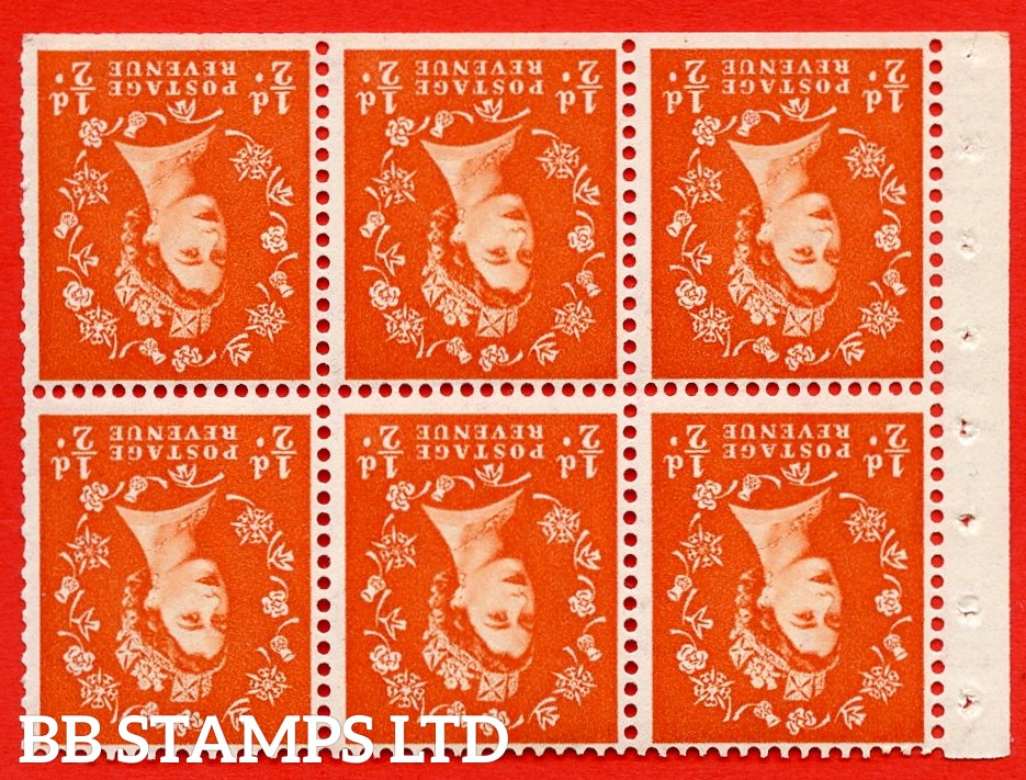 SG. 515Wi. SB1a. ½d orange - red. A fine UNMOUNTED MINTexample. INVERTED WATERMARK. Complete Booklet pane of 6. Perf Type IS. Trimmed perfs.