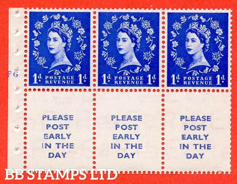 "SG. 516. SB24. 1d ultramarine. A fine UNMOUNTED MINT cylinder "" F6 no dot "" booklet pane of 6. Perf type (I) with GOOD PERFS. Smooth edge."