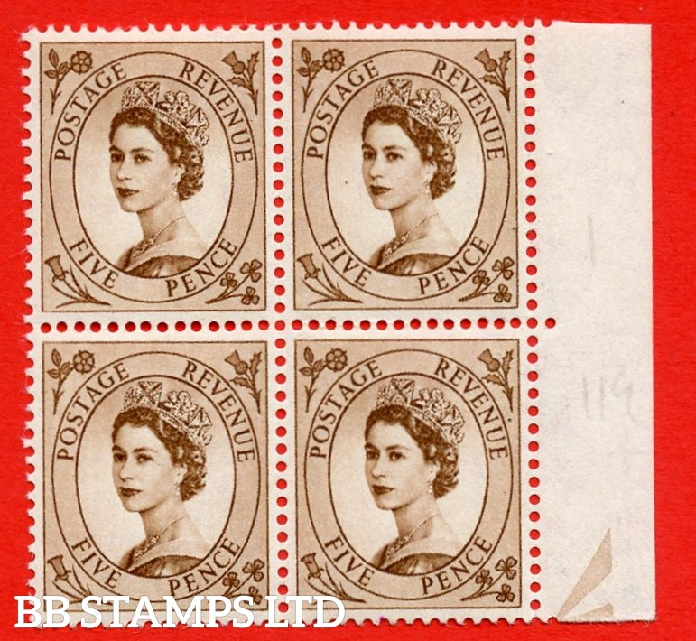 SG. 547. S100b. 5d. Brown. A superb UNMOUNTED MINT example. Positional Block of 4. Variety Spot on daffodil (No dot,R10/12)