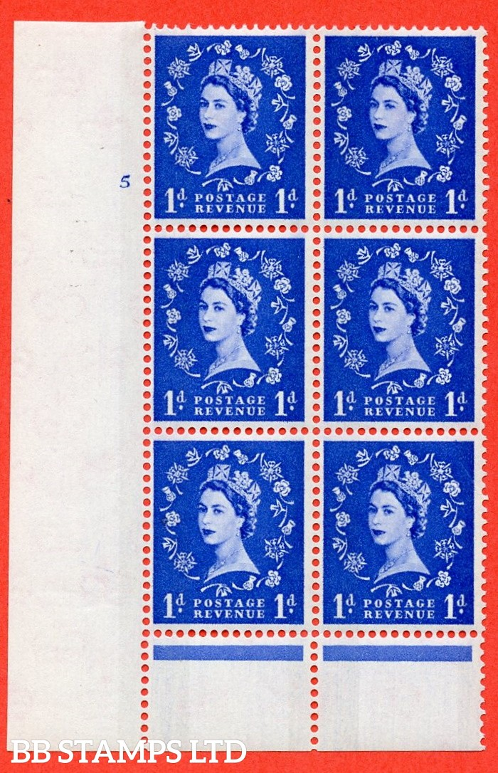 "SG.611. S21. 1d Ultramarine. A fine mounted mint "" cylinder 5 no dot "" control block of 6 with perf type B (I/P). Blue Phosphor Cream paper."