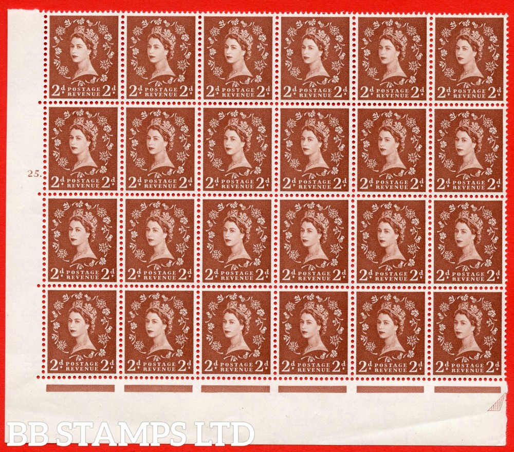 SG. 573. S40d. 2d light red brown . A superb UNMOUNTED MINT example. Bolck of 24 from cylinder 25 dot. Cream paper. With a Tadpole retouch ERROR. R.17/6.