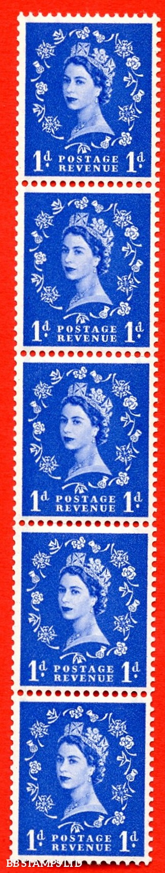 SG. 562b. S15d. 1d Ultramarine. A superb UNMOUNTED MINT example. Upright coil strip of 5. With a Stop omitted. ERROR. Roll 3 variety.