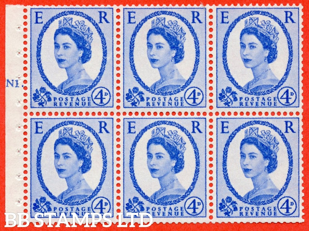"SG. 576a. SB105. 4d Deep Ultramarine. A fine UNMOUNTD MINT cylinder "" N1 T dot "" booklet pane of 6. Perf type (Ieb) with GOOD PERFS. Smooth edge. White paper."