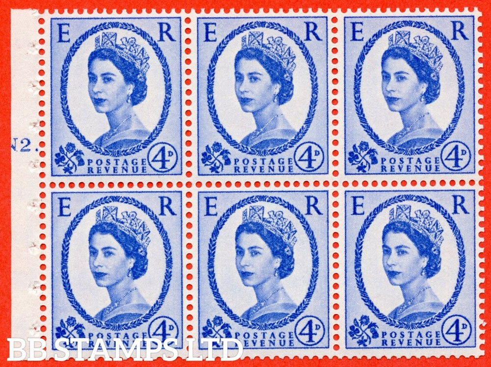 "SG. 576a. SB105. 4d Deep Ultramarine. A fine UNMOUNTED MINT cylinder "" N2 T dot "" booklet pane of 6. Perf type (Ieb) with GOOD PERFS. Smooth edge. White paper"