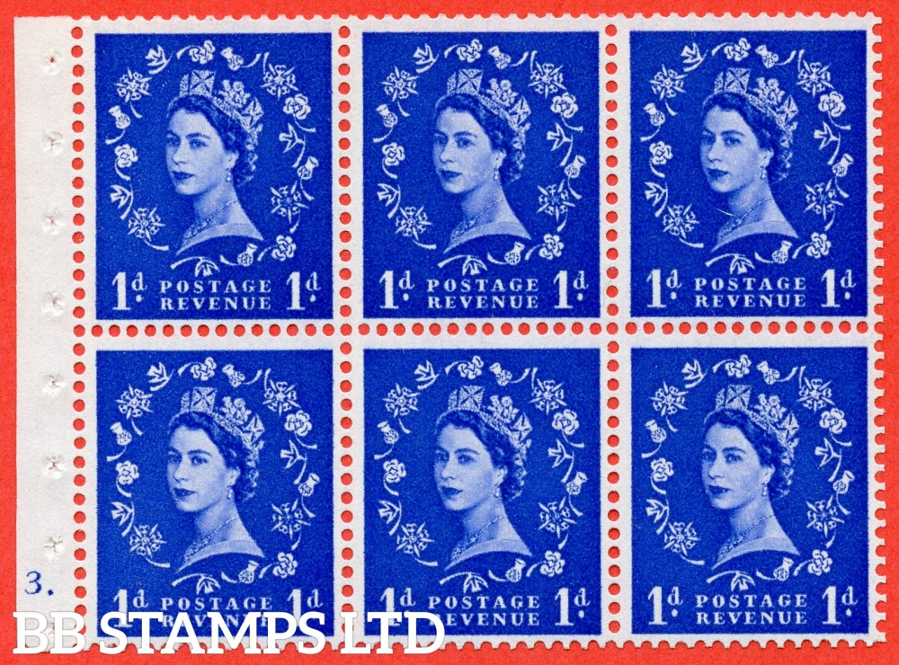 "SG. 541. SB26b. 1d ultramarine. A fine UNMOUNTED MINT cylinder "" F3 dot "" booklet pane of 6. Perf type (Ieb) with GOOD PERFS. Smooth edge. Listed variety "" Dot on Serif ""."