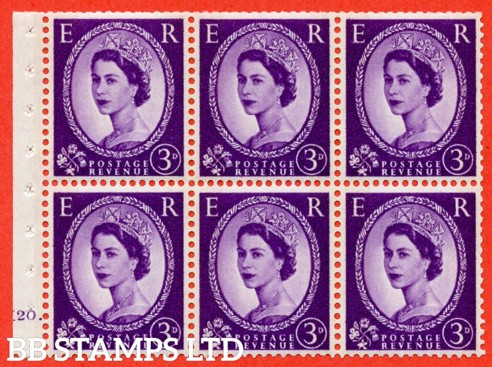 "SG. 615. SB100. 3d Deep Lilac. A fine UNMOUNTED MINT cylinder "" K20 dot "" booklet pane of 6. Perf type (Ieb) with TRIMMED PERFS. Smooth edge. White Paper."