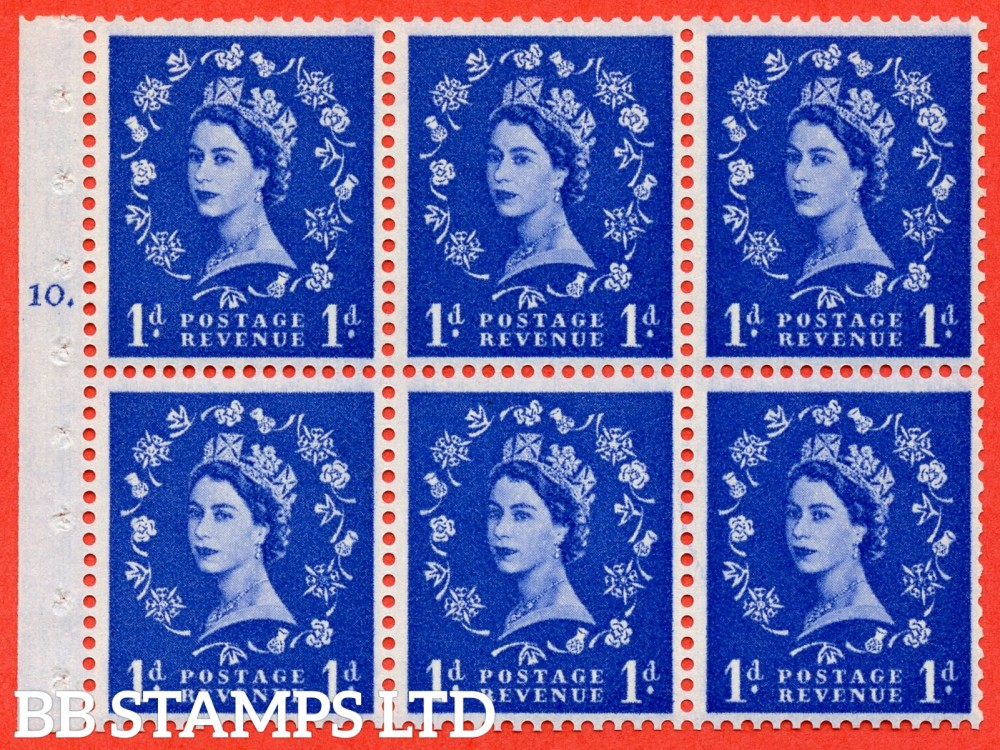 "SG. 571. SB30. 1d Ultramarine. A fine UNMOUNTED MINT cylinder "" F10 T dot "" booklet pane of 6. Perf type (Iet) with GOOD PERFS. Smooth edge Cream paper."