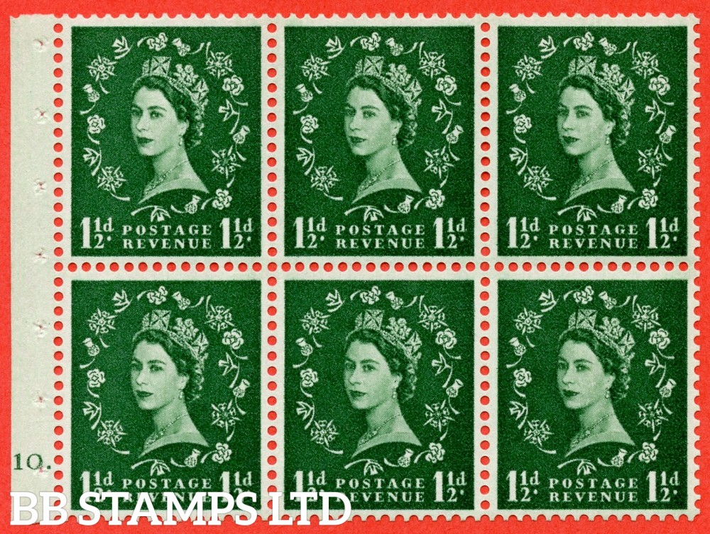 "SG. 542. SB62. 1½d green. A fine mounted mint cylinder "" G10 dot "" booklet pane of 6. Perf type (Iet) with GOOD PERFS. Smooth edge."