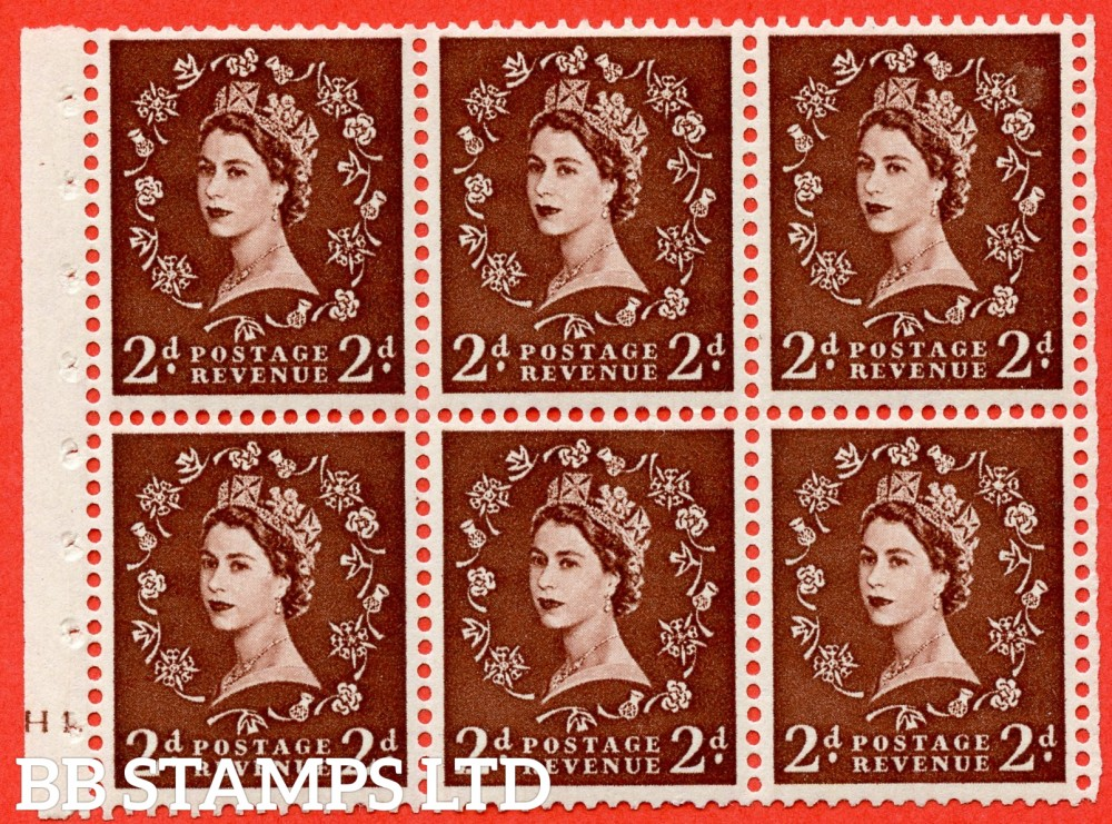 "SG. 543. SB77. 2d red - brown. A fine mounted mint cylinder "" H10 dot "" booklet pane of 6. Perf type (Ieb) with TRIMMED PERFS. Smooth edge."