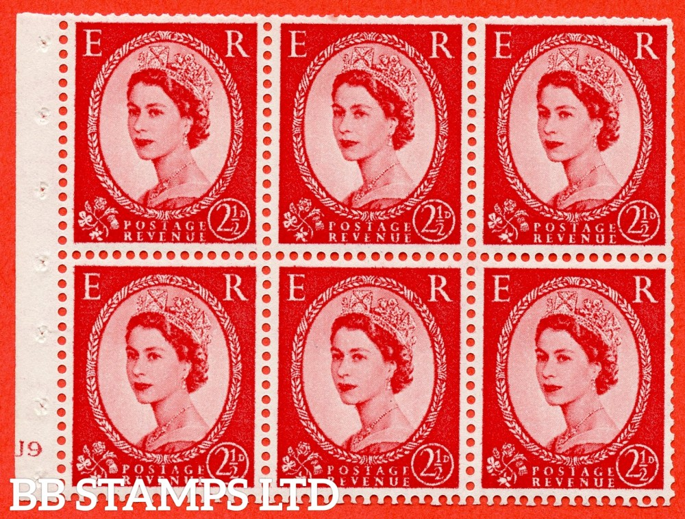 "SG. 544b. SB81. 2½d carmine - red. A fine mounted mint "" J9 no dot "" booklet pane of 6. Perf type (I) with GOOD PERFS. Smooth edge."